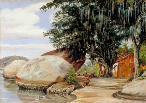 Марианна Норт. Валуны и домик рыбака в Парквите, Бразилия