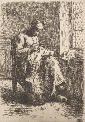 Jean-François Millet. Woman for needlework