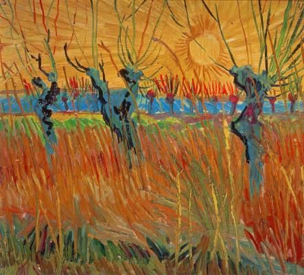 Винсент Ван Гог. Обрезанные ивы и закат
