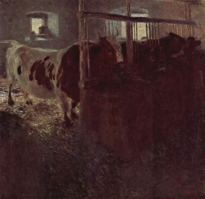 Gustav Klimt. Cows in the barn