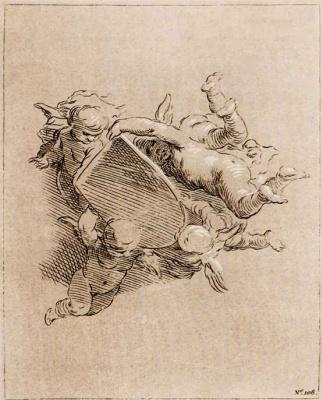 Абрахам Блумарт. Пять ангелочков с пустым щитком для герба