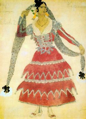 "Alexander Yakovlevich Golovin. Women's costume for the actress Pavlova to Bizet's Opera ""Carmen"""