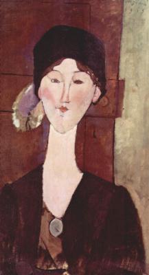 Амедео Модильяни. Портрет Беатрис Хастингс на фоне двери