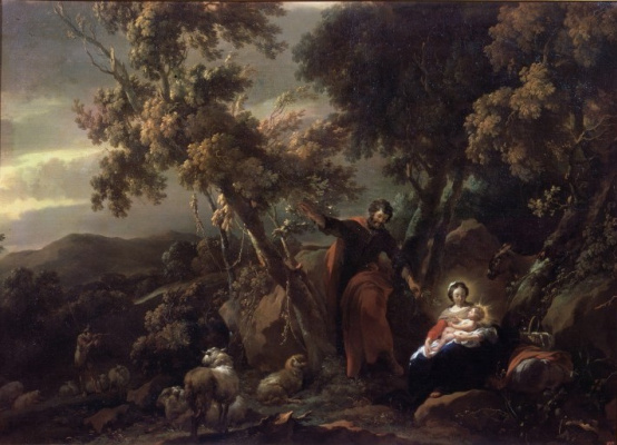 Nicholas Peters Berchem. Rest on the flight into Egypt
