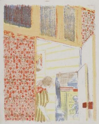 "Jean Edouard Vuillard. ""Landscapes and interiors"". Interior with pink Wallpaper III"