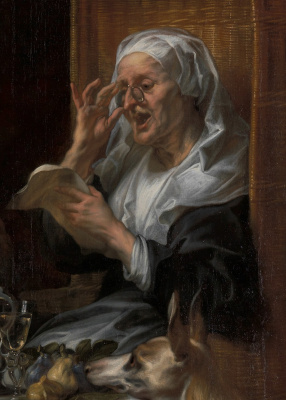 "Jacob Jordaens. ""The old men sing, the young play."" Fragment: Grandma"