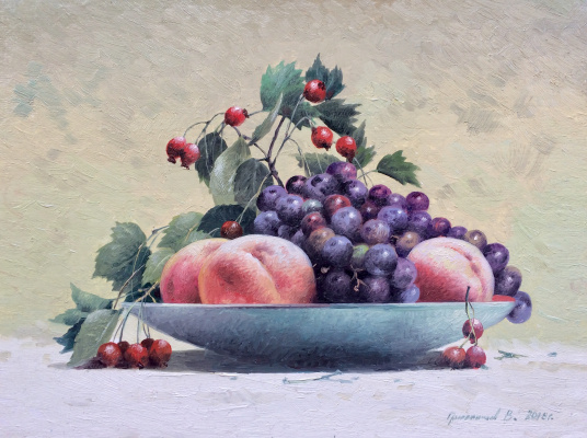 Vasily Ivanovich Gribennikov. Still life with grapes and peaches