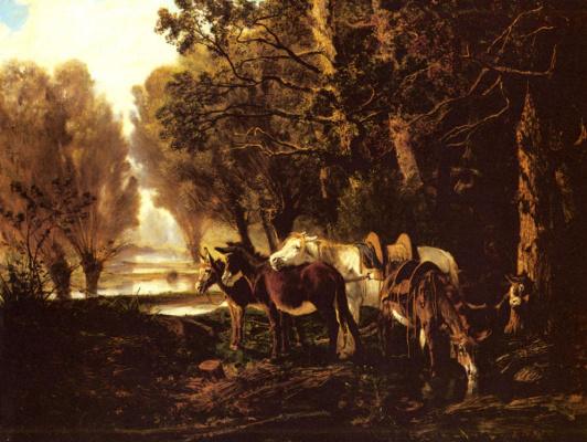 Джузеппе Палицци. Лошадь и ослы