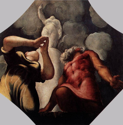 Jacopo (Robusti) Tintoretto. Deukalion and Pyrrha pray in front of the statue of the goddess Themis