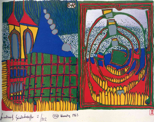 Friedensreich Hundertwasser. House and spiral in the rain
