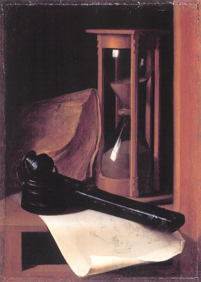 Gerrit (Gerard) Dow. Still life with hourglass, a pencil case and seal