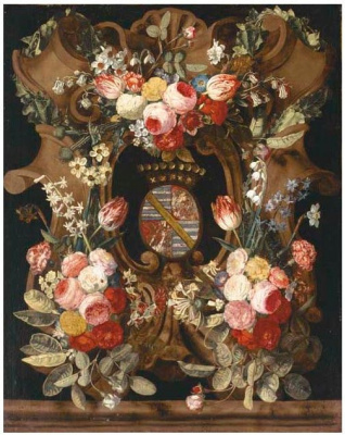 Carstian Lyuix. Garland of roses, carnations, snowdrops, honeysuckle, morning glory and other flowers