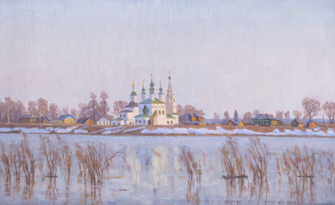 Eugene Alexandrovich Kazantsev. Early spring on the Dvina. The Great Ustyug.