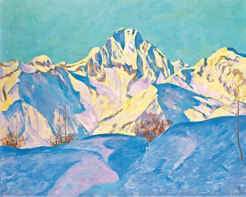 Giovanni Giacometti. Landscape with snow-capped mountains