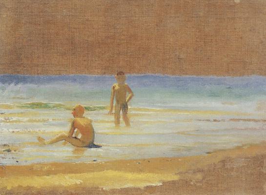 Nikolai Nikolaevich Ge. The boys at the beach. Etude