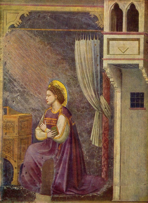 Giotto di Bondone. The Annunciation of Mary, detail
