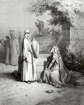 Paul Gustave Dore. Bible Illustrations: Eliezer and Rebekah