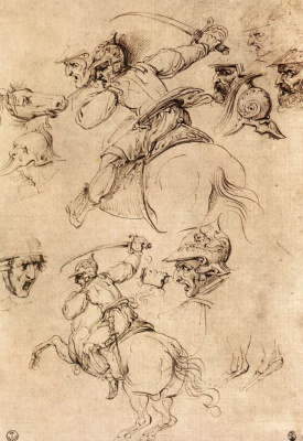 Леонардо да Винчи. Зарисовки конной битвы