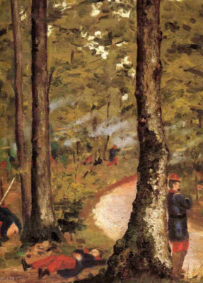 Gustave Caillebotte. Hierro., soldiers in the woods