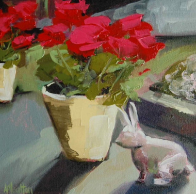 Angela Moulton. Guardian of the Rabbit and the red geranium