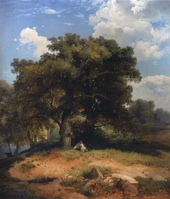 Landscape with oak trees and a shepherd