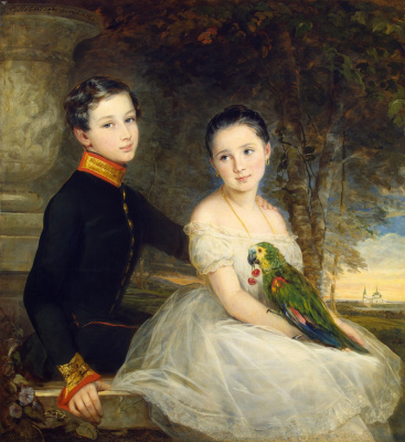 Christina Robertson. Children with a parrot. 1850