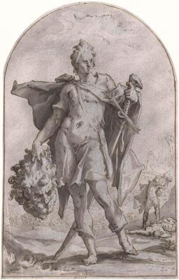 Хендрик Гольциус. Давид с головой Голиафа. 1586-1590