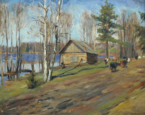 Manuil Khristoforovich Aladzhalov Russia 1862 - 1934. Country landscape.