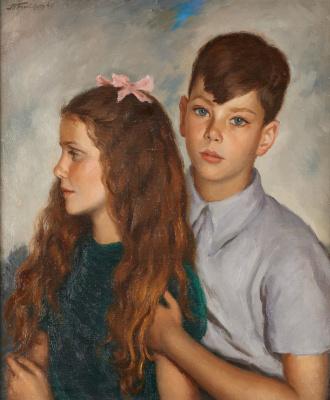 Леонид Исаакович Фрешкоп. Портрет брата и сестры. 1941