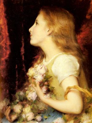 Этьен Адольф Пиот. Молодая девушка с корзиной цветов