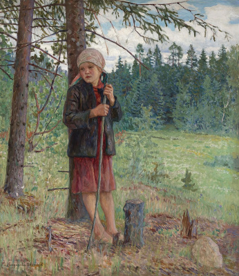 Nikolay Petrovich Bogdanov-Belsky. The girl in the forest