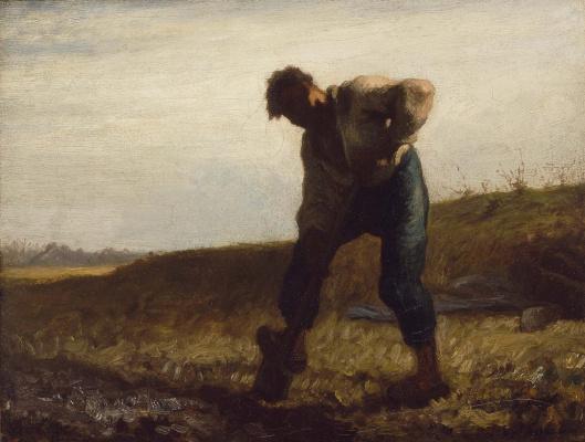 Jean-François Millet. Man digging the ground