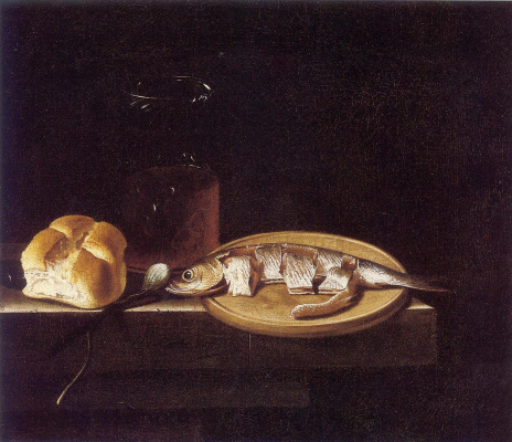 Adrian Coort (Coorte). Still life with herring, bread and beer