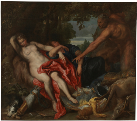 Anthony van Dyck. Diana and the nymph discovered by a Satyr