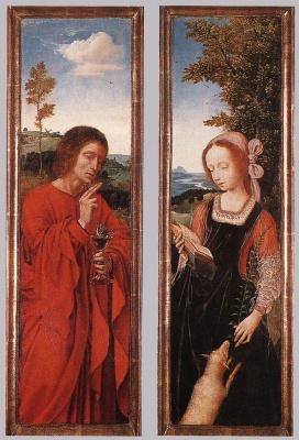 Quentin Masseys. Diptych: John the Baptist and Saint Agnes
