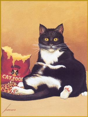 Лоуэлл Эрреро. Сытый черно-белый кот