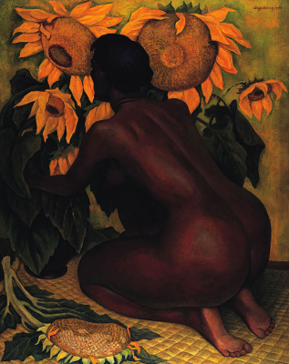 Diego Maria Rivera. Nude with Sunflowers