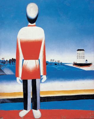 A man in a Suprematist landscape