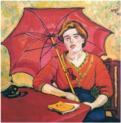 Max Pehshtein. A woman with a red umbrella