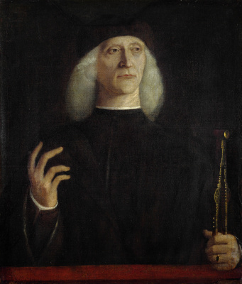 Gentile Bellini. Portrait of a man with compass