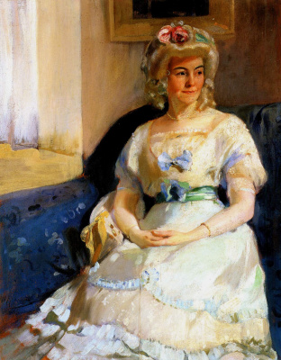 Alexander Murashko. Portrait of woman in white wig