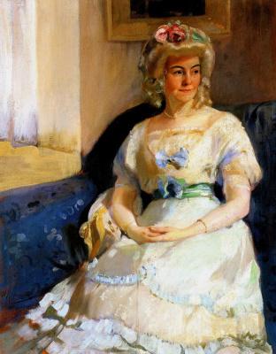Alexander Murashko. Portrait of woman in white wig