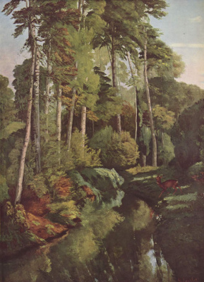Gustave Courbet. Forest brook with deer