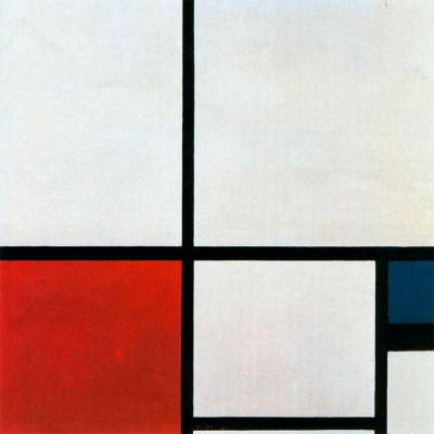 Piet Mondrian. Composition No. 1 with red and blue