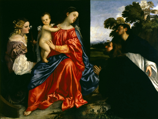 Titian Vecelli. Madonna and Child, St. Catherine and two monks