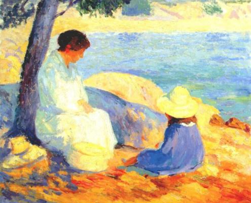 Бернард Гутман. Женщина и ребенок на берегу моря