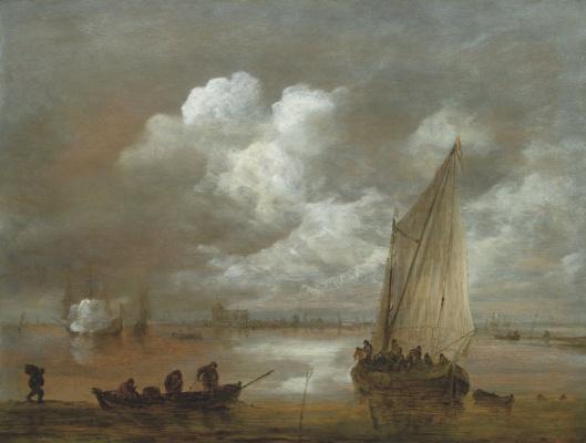 Ян ван Гойен. Речной пейзаж с парусником и лодкой