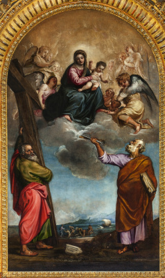 Titian Vecelli. Madonna and Child in Glory, with Saints Peter and Andrew (Madonna Serravalle)