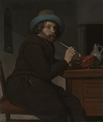 Габриель Метсю. Курильщик за столом