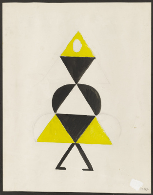 "Sonia Delaunay. Yellow dancer. Costume design for the play ""Gas Heart"""